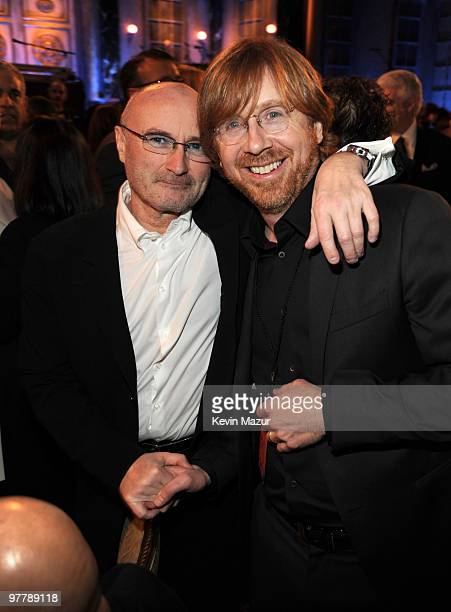 NEW YORK MARCH 15 *Exclusive* Phil Collins and Trey Anastasio of Phish attends the 25th Annual Rock and Roll Hall of Fame Induction Ceremony at The...