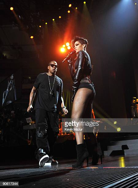 NEW YORK SEPTEMBER 11 *Exclusive* Rihanna and JayZ perform at Madison Square Garden on September 11 2009 in New York City