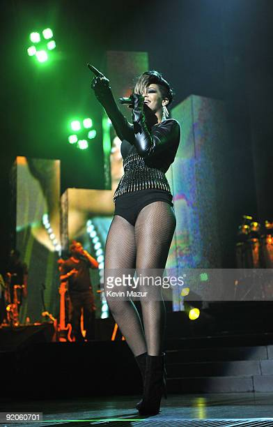 NEW YORK SEPTEMBER 11 *Exclusive* Rihanna performs at Madison Square Garden on September 11 2009 in New York City
