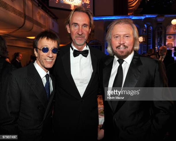NEW YORK MARCH 15 *Exclusive* Robin Gibb Mike Rutherford of Genesis and Barry Gibb attends the 25th Annual Rock and Roll Hall of Fame Induction...