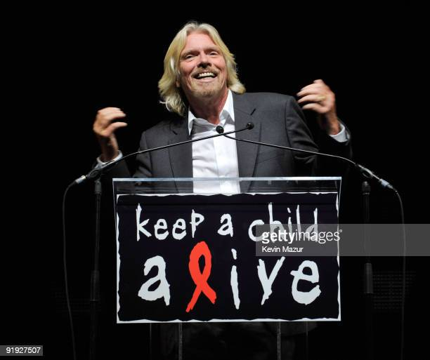 NEW YORK OCTOBER 15 *Exclusive* Sir Richard Branson on stage at Hammerstein Ballroom during Keep A Child Alive's 6th Annual Black Ball hosted by...