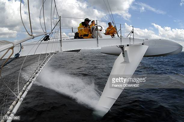 Exclusive Skipper Alain Thebault On Board Hydrofoil ' L'Hydroptere ' The Formula One On Sea In Saint Malo France On June 20 2007 As always skipper...
