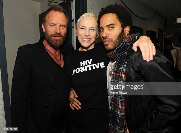 NEW YORK OCTOBER 30 *Exclusive* Sting Annie Lennox and Lenny Kravitz attends the 25th Anniversary Rock Roll Hall of Fame Concert at Madison Square...