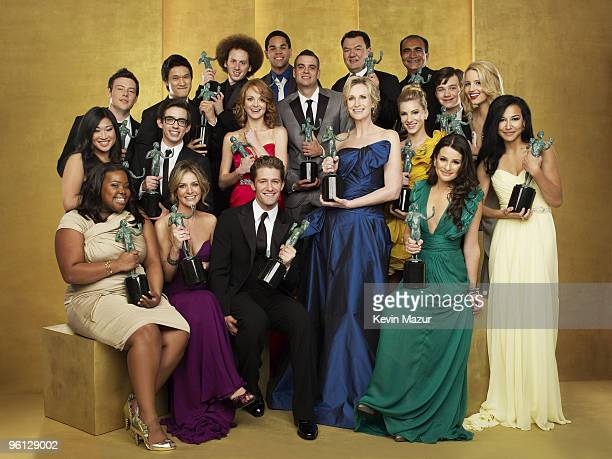 *Exclusive* The cast of Glee pose for a portrait at the TNT/TBS broadcast of the 16th Annual Screen Actors Guild Awards at the Shrine Auditorium on...