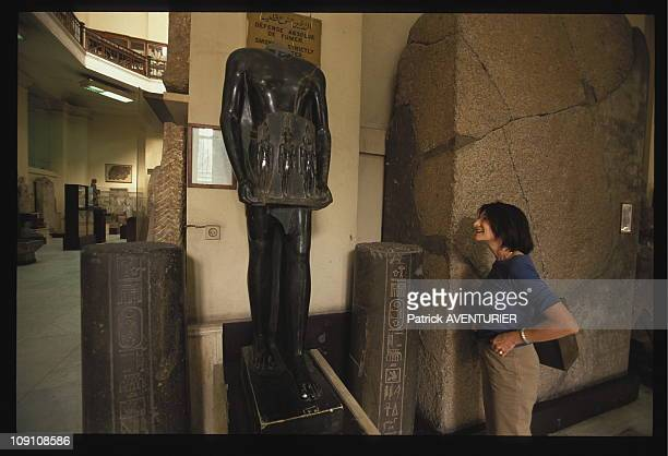 Exclusive The Forgotten Treasures Of Tanis On January 11Th 2002 In Cairo Egypt Christiane ZivieCoche In Front Of The Statue Of Panemerit The Object...
