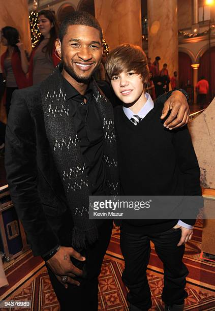 *Exclusive* Usher and Justin Bieber attends TNT's 'Christmas in Washington 2009' at the National Building Museum on December 13 2009 in Washington DC...