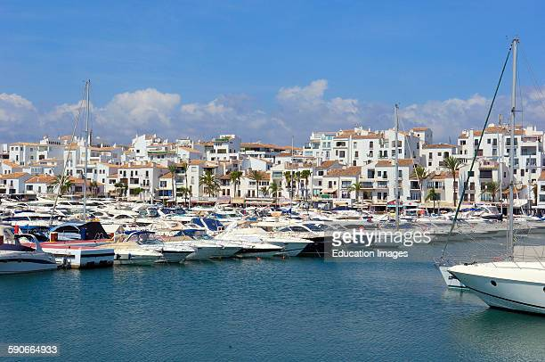 Exclusive yacht harbor of Puerto Banus, Marbella, Costa del Sol, Malaga province, Andalusia, Spain.