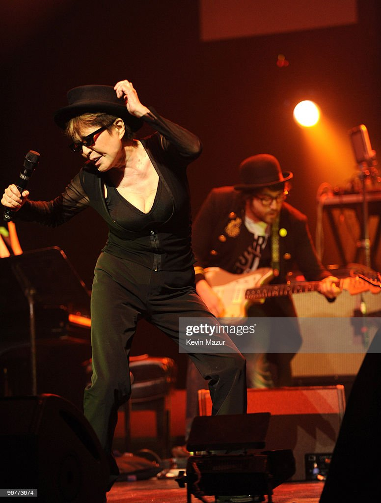 *Exclusive* Yoko Ono and Sean Lennon perform with the Plastic Ono Band at Brooklyn Academy of Music on February 16, 2010 in Brooklyn, New York.