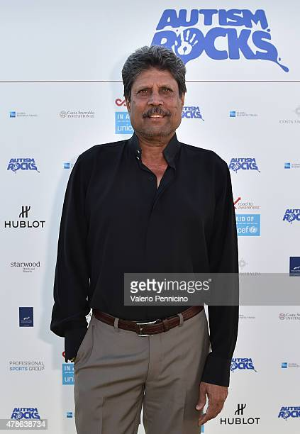 ExCricketer Kapil Dev arrives at the Welcome Dinner presented by Autism Rocks prior to The Costa Smeralda Invitational Golf Tournament at Pevero Golf...