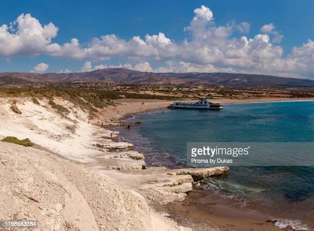 Excursion ship moors at lara Beach, Akamas Peninsula National Park, Cyprus, Cyprus, 30070187.