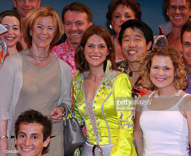 "*Excusive Coverage* Singer Anni-Frid Lyngstad of the pop group ABBA poses backstage with the Broadway cast of the ABBA Musical ""Mamma Mia!"" on..."
