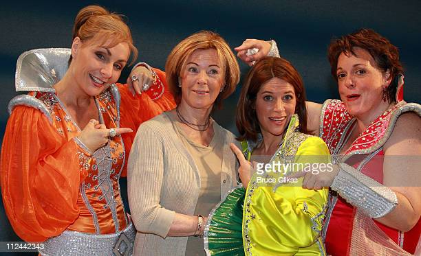 *Excusive Coverage* Singer AnniFrid Lyngstad of the pop group ABBA poses with actresses Judy McLane Jen BurleighBentz and Gina Ferrall backstage at...