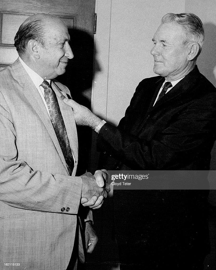 JUN 5 1969, JUN 6 1969; Ex-Customs Man; John E. Streltzer, 1578 S. Clermont St., left, who recently  : News Photo
