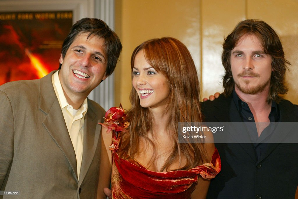 Exec. Prod. Jonathan Glickman, Izabella Scorupco and Christian Bale at the premiere of 'Reign of Fire' at the Village Theatre in Westwood, Ca. Tuesday, July 9, 2002. Photo by Kevin Winter/ImageDirect
