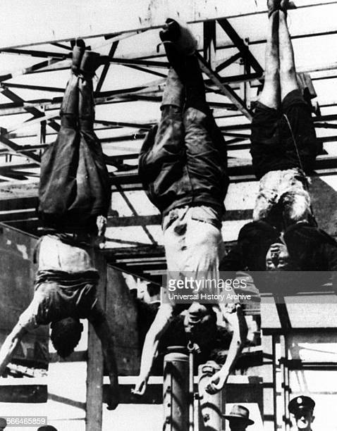 Executed bodies of Benito Mussolini and clara petacci the mistress of the Italian dictator 1945