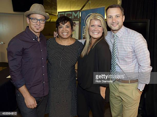 Executine Director GMA Jackie Patillo joins Recording Artists TobyMac Natalie Grant and Brandon Heath during the 45th Annual GMA Dove Awards...
