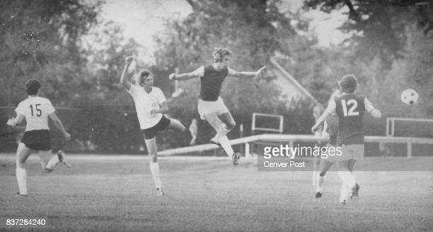 Executing the intricate soccer maneuvers are left to right Bobby Ohle Mike Flater both members of the Denver Kickers team Billy Bonds and Pat Holland...