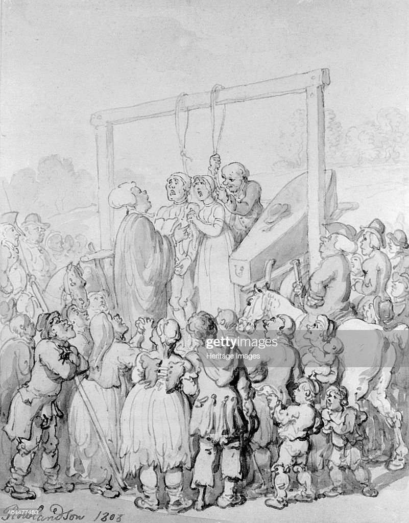 Execution at Tyburn, 1803. Artist: Thomas Rowlandson : News Photo