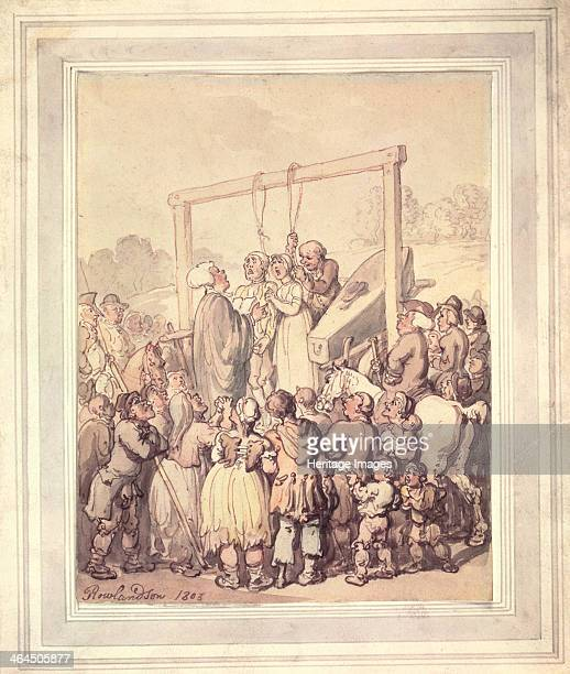 Execution at Tyburn London 1803 A frightened man and woman stand in the gallows with nooses round their necks with a coffin ready next to them A...