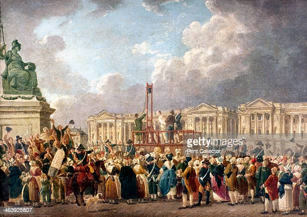 Execution by Guillotine in Paris during the French Revolution 1790s A crowd of citizens gathered in the Place de la Revolution to watch the execution