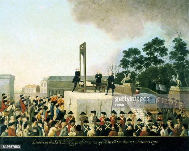Execution by guillotine of Louis XVI of France, 21 January 1793. Louis lying bound on guillotine waiting for blade to fall and decapitate him. Basket...