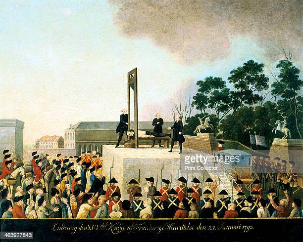 Execution by guillotine of Louis XVI of France, Paris, 21 January 1793 . Louis lying bound on the guillotine waiting for the blade to fall and...