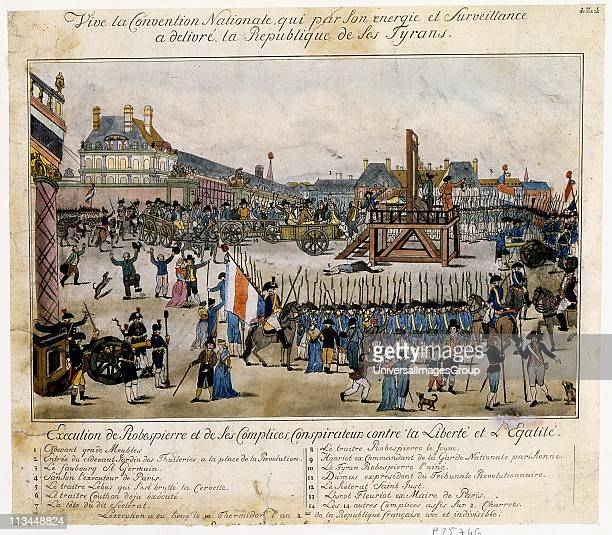 Execution by guillotine of Robespierre French revolutionary and his conspirators Robespierre mounts scaffold In cart left of scaffold are Hanriot...