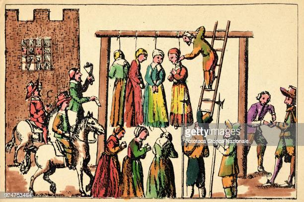 Execution by hanging of four witches Colored engraving from 'Law and Custom of Scotland in Matters Criminal' by Sir George Mackenzie Scotland...