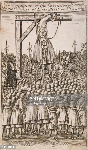 Execution of a criminal Lime Street City of London 1664 A crowd gathered round to watch the execution of a parliamentary Colonel James Turner...