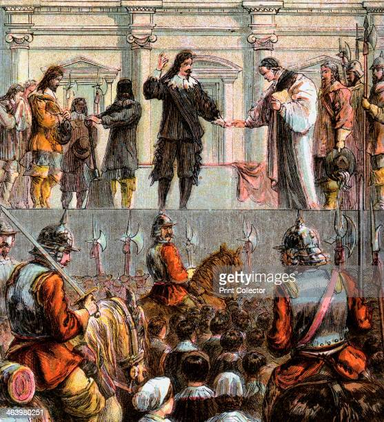 'Execution Of Charles I 1649' Charles was convicted of treason and executed outside Whitehall Colour plate from Pictures of English History George...