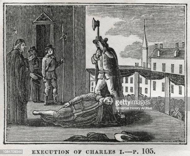 Execution of Charles I Illustration from the Book Historical Cabinet LH Young Publisher New Haven 1834