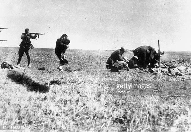 Execution of Kiev Jews by German army killing units near Ivangorod Ukraine