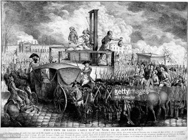 Execution of Louis XVI, 1793. The head of Louis XVI , King of France from 1774, being shown to the crowd after his execution by guillotine in the...