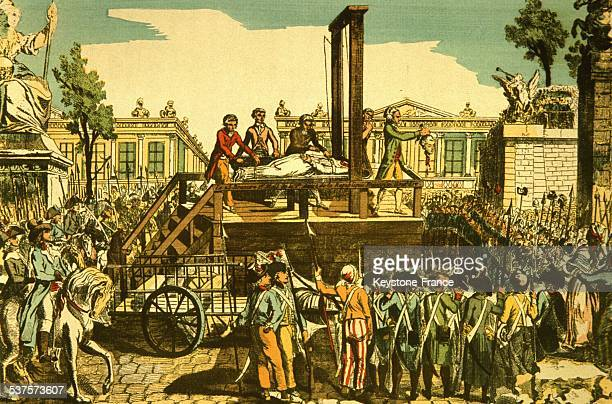 Execution of MarieAntoinette Queen of France who was guillotined at the Concorde square on October 16 1793 in Paris France