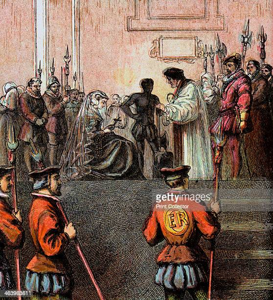 'Execution Of Mary, Queen Of Scots, 1587', . The beheading of Mary I of Scotland, , Queen of Scots. Colour plate from Pictures of English History...