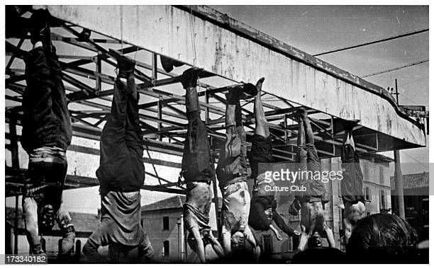 Execution of Mussolini and others. 40th Prime Minister of Italy and leader of National Fascist Party: 29 July 1883 – 28 April 1945. Fourth from right...