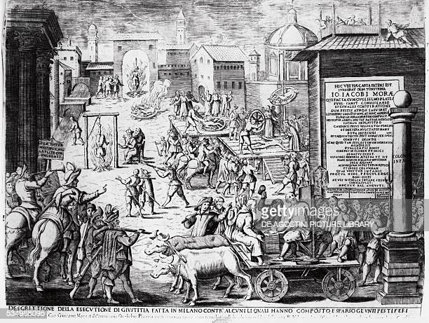 Execution of suspected plague-spreaders, the plague in Milan, engraving. Italy, 17th century.