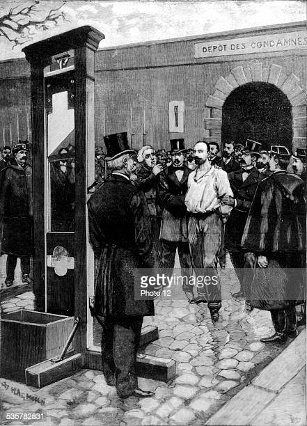 Execution of the anarchist Vaillant after the bombing of the Chamber of Deputies the convict is lead outside the prison de la Roquette February 11...