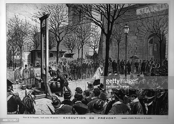 Execution on the Place de la Roquette of Victor Prevost by guillotine for the murders of Adele Blondin and Mr Lenoble on January 19 1880 in Paris...