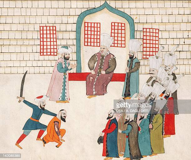 Execution witnessed by dignitaries from the court miniature from Turkish Memories Arabic manuscript Cicogna Codex Turkey 17th Century