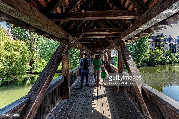 Executioner's's bridge across the Pegnitz River in the Old Town Nuremberg Germany 05 June 2015 The former official residence of the city's...