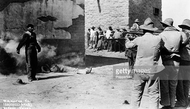 Executions by firing squad during the Mexican Punitiive Expedition in Juarez Mexico circa 1916 This image is from the files of the United States...