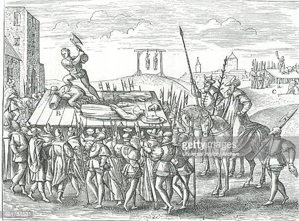 Bishop Fisher 17 June 1535 B Thomas More 9 July 1535 C Countess of Salisbury From 'Theatrum crudelitatum nostri temporis' Anvers 1587