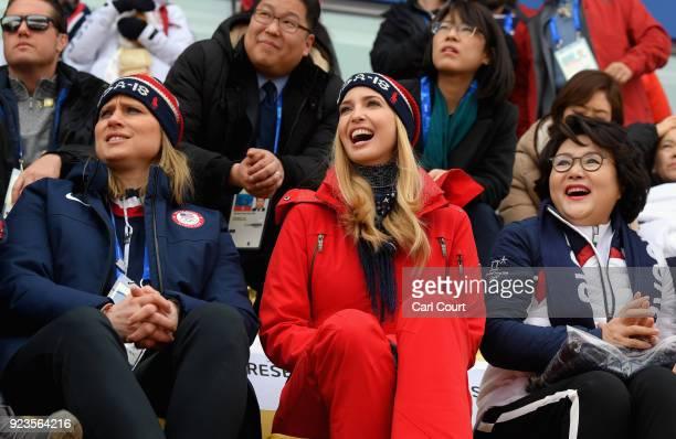 Executive board member Angela Ruggiero, Ivanka Trump and South Korean first lady Kim Jung-sook attend the Snowboard - Men's Big Air Final on February...
