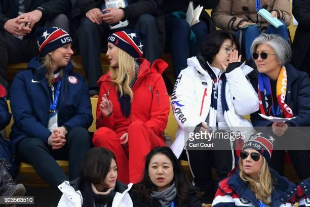 IOC executive board member Angela Ruggiero Ivanka Trump South Korean first lady Kim Jungsook and South Korean foreign minister Kang Kyungwha attend...