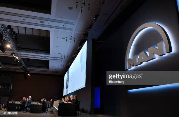 Executive board members hold the company's annual shareholders' meeting in Munich, Germany, on Thursday, April 1, 2010. MAN SE, Europe's...