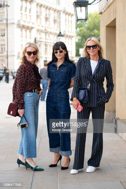 Executive brand editor at Porter magazine Sarah Bailey wears an Essentiel Antwerp top and shoes vintage jeans Dior bag Gucci sunglasses and belt with...