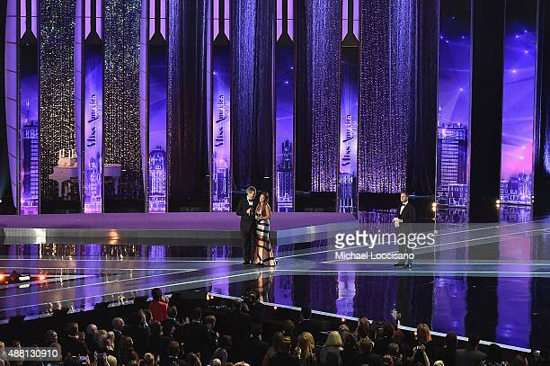 Executive Chairman and CEO for Miss America Sam Haskell III and Vanessa Williams speak onstage during the 2016 Miss America Competition at Boardwalk...