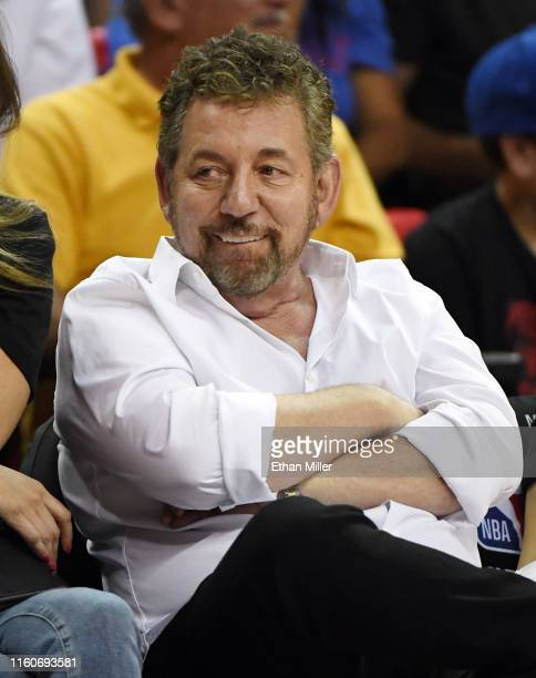 Executive chairman and CEO of The Madison Square Garden Company and executive chairman of MSG Networks James L Dolan attends a game between the New...