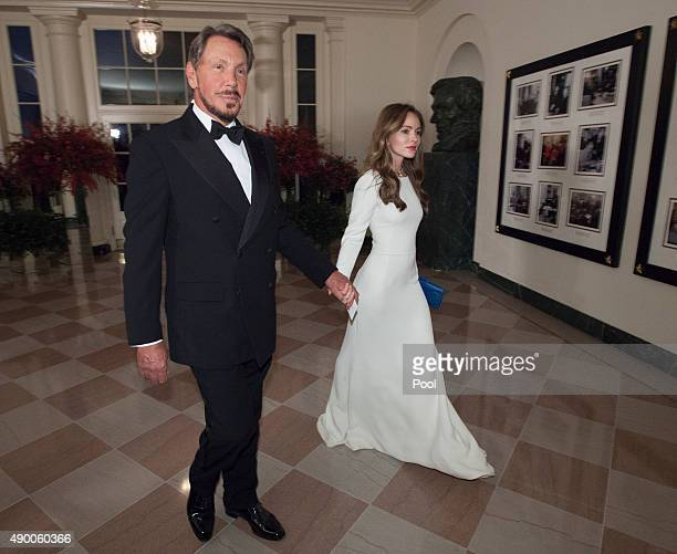 Executive Chairman Larry Ellison of Oracle Corp and Nikita Kahn arrive for a state dinner in honor of Chinese President President Xi Jinping and his...